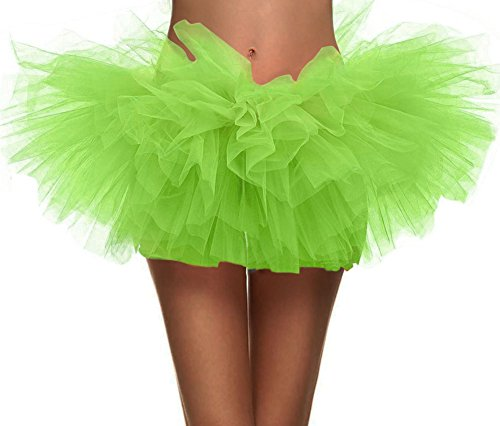 (Simplicity Women's Classic 5 Layered Tulle Tutu Skirt (Fluorescent)