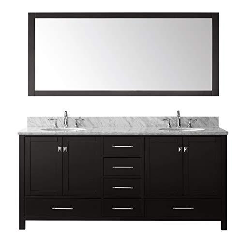 Virtu USA Caroline Avenue 72 inch Double Sink Bathroom Vanity Set in Espresso w/Round Undermount Sink, Italian Carrara White Marble Countertop, No Faucet, 1 Mirror - GD-50072-WMRO-ES