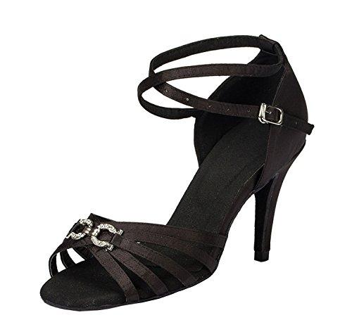 Minishion Donna Th063 Cinturino Incrociato Raso Da Sposa Ballroom Latino Taogo Sandali Da Ballo Nero
