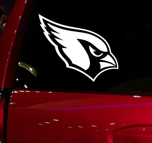 WALL BANNERS LLC   MN 4871   Football   Cardinals   Vinyl Sticker Decal for Window Glass Cars Trucks Vans SUV Vehicles Automobiles Windshield Folder Walls Laptops Computers (Cardinals White)
