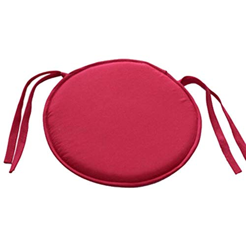 YOMINY Dining Chair Pads, Round Non Slip Memory Foam Seat Chair Cushion Pads with Ties for Indoor Outdoor Patio Furniture Garden Home Office 40CMx40 cm (Red, 2 -