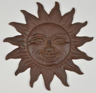 Decorative Cast Iron Sun Face Yard Garden Stepping Stone 11.375 Wide