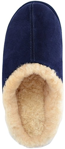 SNUGRUGS Men's Newbury, Sheepskin Mule Rubber Sole Open Back Slippers Blue (Navy)