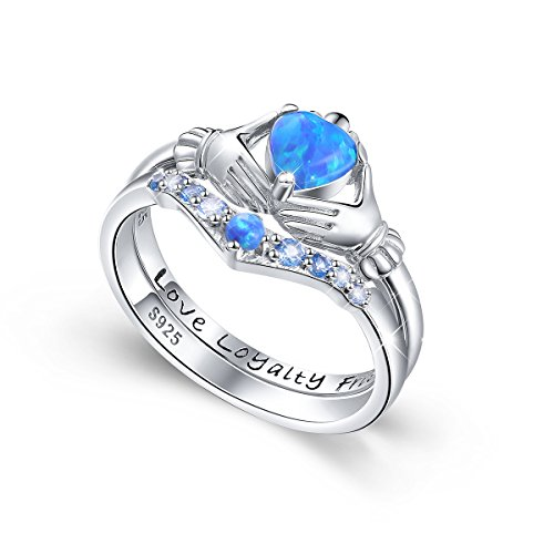 DAOCHONG S925 Sterling Silver Simulated Opal Claddagh Ring Set for Women Size 6 7 8 - Ring Rings Claddagh Ladies