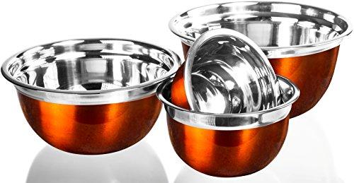 4 Pcs Stainless Steel Mixing Bowls Set - Set of 4 German Mixing Bowls Cookware Set (Orange)