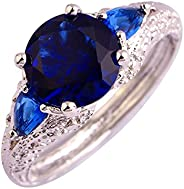 Veunora 925 Sterling Silver Created Sapphire Quartz Filled Promise Ring for Women
