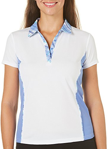 IZOD Golf Womens Plaid Collar Polo Shirt (Medium)