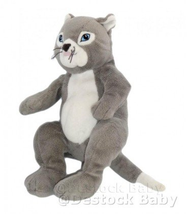 Peluche Doudou gato IKEA GOSIG Katt gris blanco ojos azules 30 cm