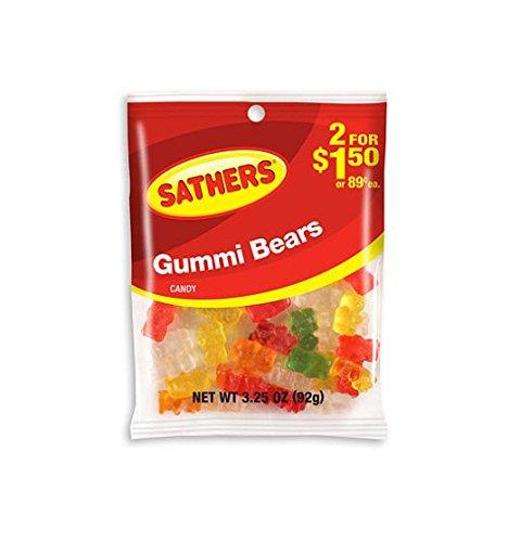 Sathers Gummi Bears - 3.25 Oz. Bag - 12 Ct.