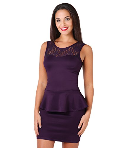(Lace Neck Bodycon Peplum Dress (Purple, 10),[3127-PUR-14])