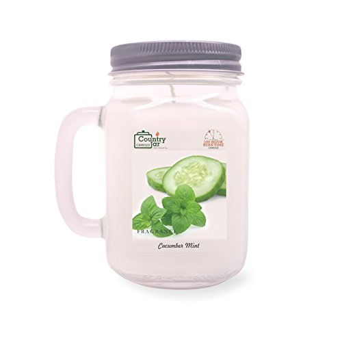 Cucumber Mint Candle Scent - Country Jar CUCUMBER MINT Handle Candle (14 oz. Mason-Carry Jar)