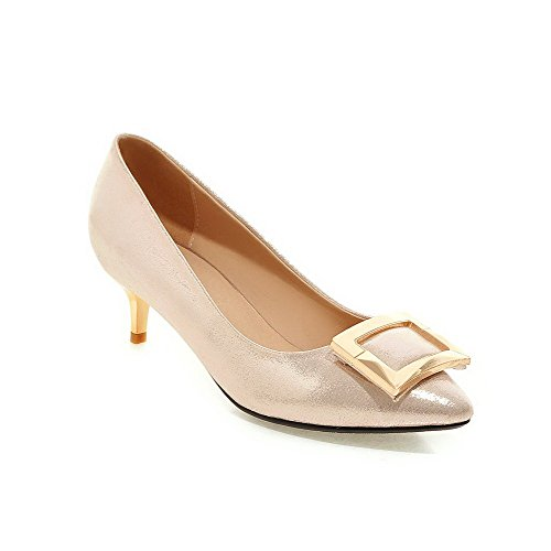 Pull Solid Leather Pointed Gold Heels on Toe Patent Women's Closed Kitten WeiPoot Shoes Pumps qcpnTaZW