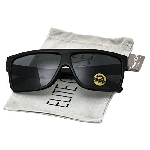 Elite Oversize Aviator POLARIZED Sunglasses Flat Top Square Vintage Retro Fashion Men Women (Black, - Square Aviator Sunglasses Vintage