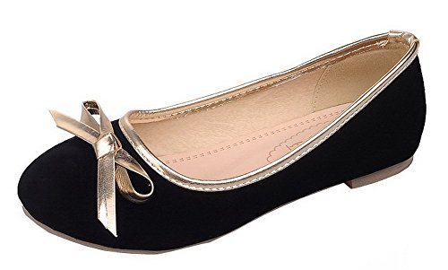 Pumps AmoonyFashion Shoes Heels Frosted Black Pull Toe On Solid Low Round Womens 4gO4pqC