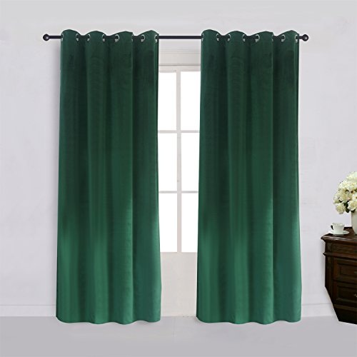 Super Soft Signature Velvet Curtains Set of 2 Dark-green Classic Blackout Panels Home Theater Grommet Drapes Eyelet 52Wx84L-inch Dark Green(2 panels) with Matching Tiebacks