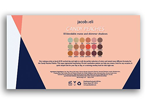 18 Super Pigmented - Top Influencer Professional Eyeshadow Palette all finishes, 5 Matte + 9 Shimmer + 4 Duochrome - Buttery Soft, Creamy Texture, Blendable, Long Lasting Stay (Candy Peaches) by Jacob & Eli (Image #6)