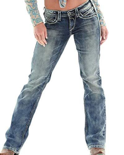 Guiran Bassa Blu Scuro Boyfriend Up Dritti Pantaloni Elasticizzati Donna Denim Baggy Jeans Vita Push Retro rf4rYB