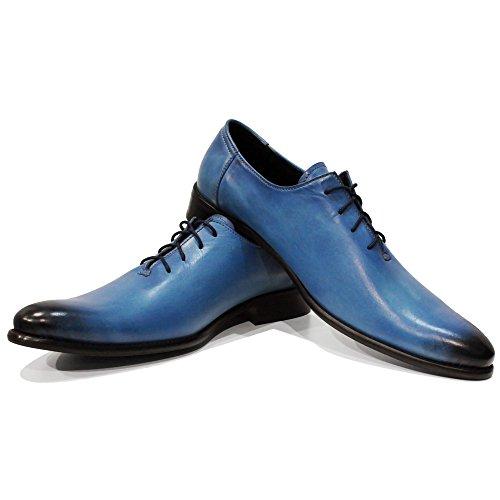 Schnürhalbschuhe Abendschuhe Rindsleder Herren Blau Italienisch Leder Oxfords PeppeShoes Lungo Handgemalte Modello Schnüren Handgemachtes Leder qnBzgU