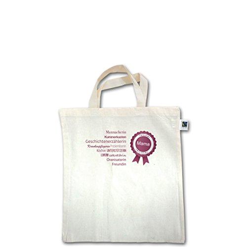 Muttertag - beste Mama - Unisize - Natural - XT500 - Fairtrade Henkeltasche / Jutebeutel mit kurzen Henkeln aus Bio-Baumwolle