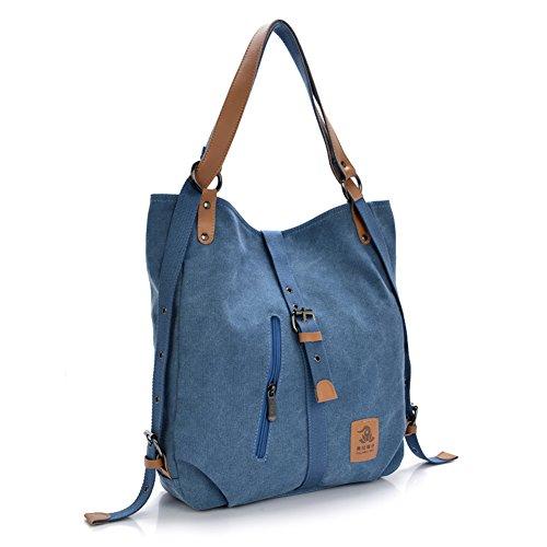 Women Shoulder Bag, Fashion Backpack, Multifunctional Canvas Handbag, Casual Rucksack, Blue by ZenithLife