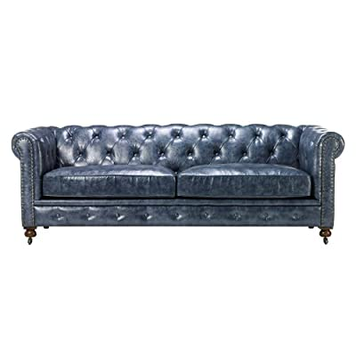 "Home Decorators Collection Gordon Tufted Sofa, 32"" Hx91 Wx38 D, Blue - 32""H x 91""W x 38""D. Blue Our No Hassle Return policy gives you peace of mind to enjoy the purchase in your home for up to 45 days. - sofas-couches, living-room-furniture, living-room - 414gXPSeXlL. SS400  -"