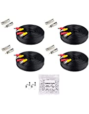 Tonton 100FT (30M) 4K 8MP 5MP 3MP 1080P Pre-Made All-in-One BNC Video Power Cables Security Camera Cable Wire with 2 Female Connectors for CCTV Surveillance Camera Systems(4 Pack)