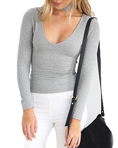 LemonGirl Women Slim Long Sleeve Bottoming Shirt Blouse Tops