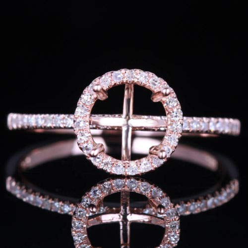 (FidgetGear 7MM 14K Rose Pave Engagement SEMI-Mount Engagement Wedding Ring)