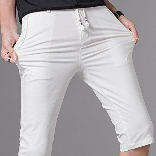 Aire Deportes Slim 5 Negocios Para Al Yra Pantalones Casuales Verano Puntos Hombres Cortos Blanco Libre 4R8fwqB7