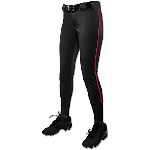 CHAMPRO Youth Tournament Low Rise Piped Softball Pant Black/Scarlet Xl