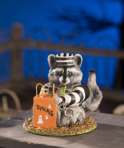 Bethany Lowe Trickster Raccoon Halloween Trick Or Treater Figurine -