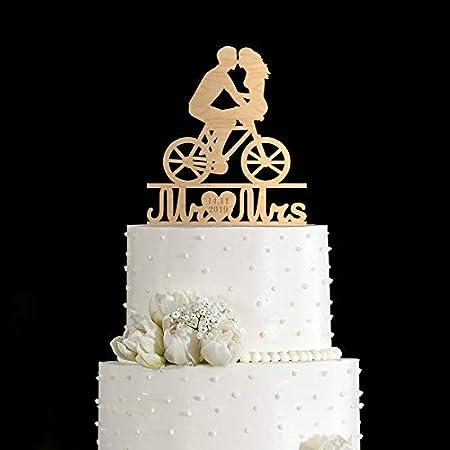 Decoración para tarta de bicicleta, diseño de bicicleta de Tandem, para dos tartas, romántica decoración para tartas, decoración para tarta de bicicleta, 205: Amazon.es: Hogar
