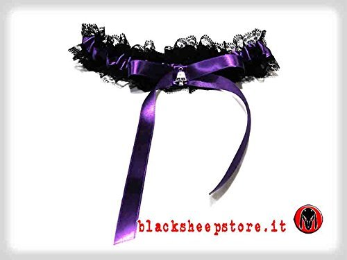 Giarrettiera viola con teschio handmade made in Italy dark wedding