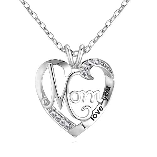 UEUC Mother's Birthday Necklace I Love You Mom Rhinestones S925 Sterling Silver Heart Pendant