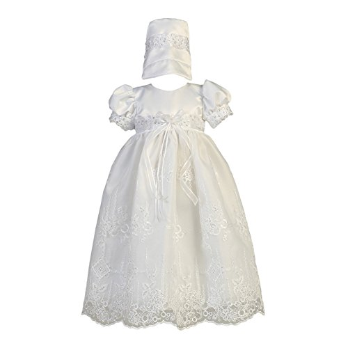 Lito Baby Girls White Satin Sparkle Sequined Organza Christening Gown ()