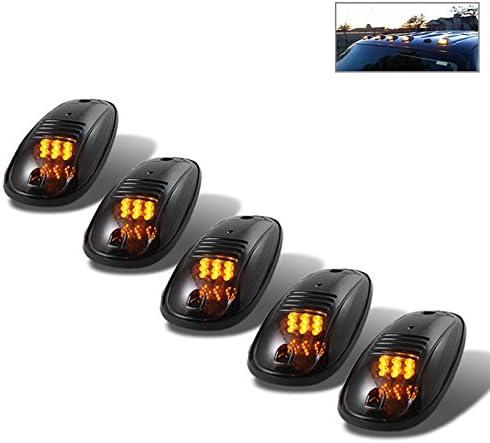 for Dodge Ram 5Pcs Running Light 9 Amber LED Cab Marker Light Roof Smoked Lens
