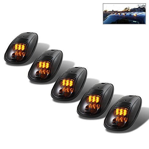 For 5Pcs LED Cab Roof Running Marker Lights Smoked Lens Amber Pickup Truck SUV Off Road Replacement Set (Headlight Smoked Coupe Kit)