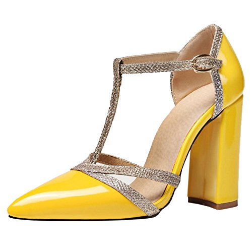 Taoffen Salom¨¦ Femmes Escarpins Chaussures Yellow Bout Pointue BqwHB7Spr