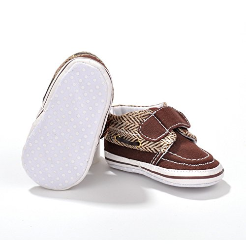 Fire Frog Velcro Sneaker - Zapatos primeros pasos de Lona para niño marrón