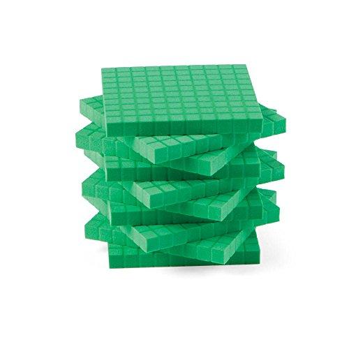 (hand2mind Green Foam Base Ten Blocks, Flats (Pack of 10))