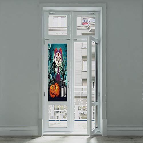YOLIYANA Privacy Window Film Decorative,Halloween,for Glass Non-Adhesive,Cartoon Girl with Sugar Skull Makeup Retro Seasonal,24''x70''