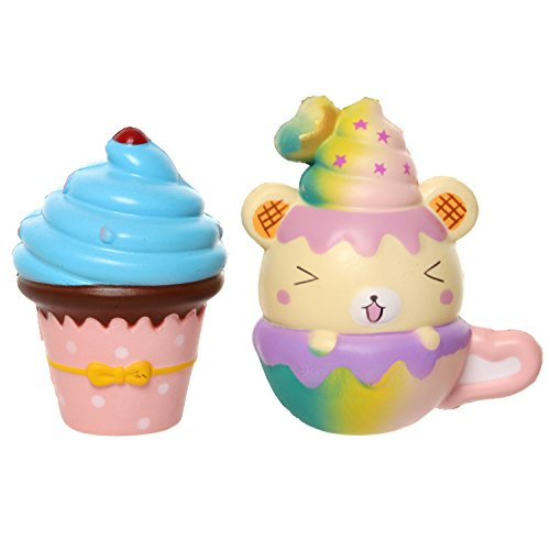 MENGWEI Kawaii Squeeze Squishies Cute Cupcake Ice Cream and Cup Yummy Bear Scented Slow Rising Jumbo Soft Relief Toy for Kids Gift and Party Supplies.
