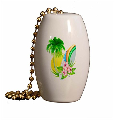 Surfboard Palm and Hibiscus Porcelain Fan/Light Pull