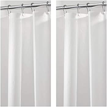 MDesign PEVA 3G Shower Curtain Liner Pack Of 2 Eco Friendly Mold Mildew Resistant Odorless