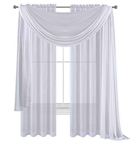 (Drape/Panels/Scarves/Treatment Beautiful Sheer Voile Window Elegance Curtains Scarf for Bedroom & Kitchen Fully Stitched and Hemmed, Set of 3: Panels 2 + 1 Scarf(White, 3 Piece Panels+Scarf))