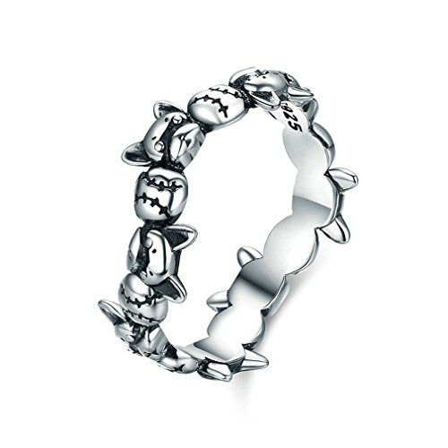 MIADEAL French Bulldog Ring, Sterling Silver Women's Ring (7) (Silver Sterling Ring Bulldog)