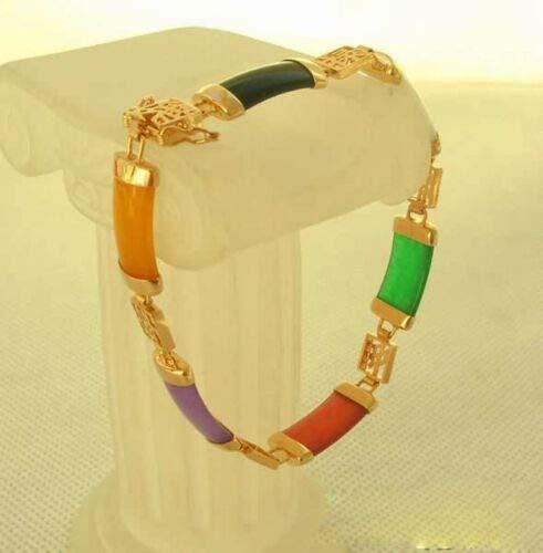 - FidgetGear 18k Gold Plated Bracelet Nature Jade Bangle Fashion Women Jewelry Lady New Gift 05 Multicolor Jade+Gold Plated 7.5 inch(19 cm)