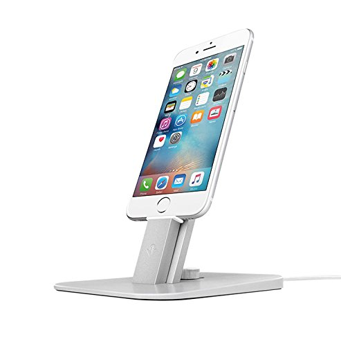Twelve South HiRise Deluxe for iPhone/iPad/Smartphone, silver | Adjustable charging stand w/Lightning + MicroUSB cables