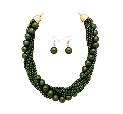 (Fashion 21 Women's Twisted Multi-Strand Simulated Pearl, Acrylic Ball Statement Necklace Earrings Set (Dark Olive Green))