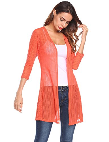 Grabsa Women Summer Sheer Lace Cardigan Beach Wear Swimsuit Bikini Cover up Lace Sheer Coat